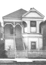 A black and white photo of the Jack London House.
