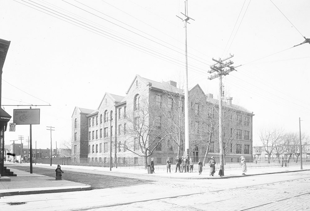 Second school building, photographed in 1914