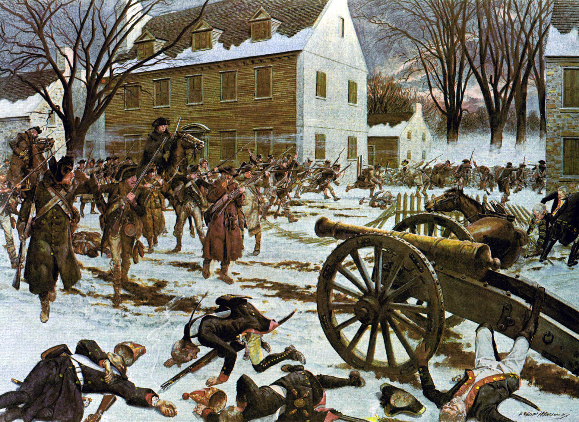 The Battle of Trenton as depicted by H. Charles McBarron, with the barracks in the background.