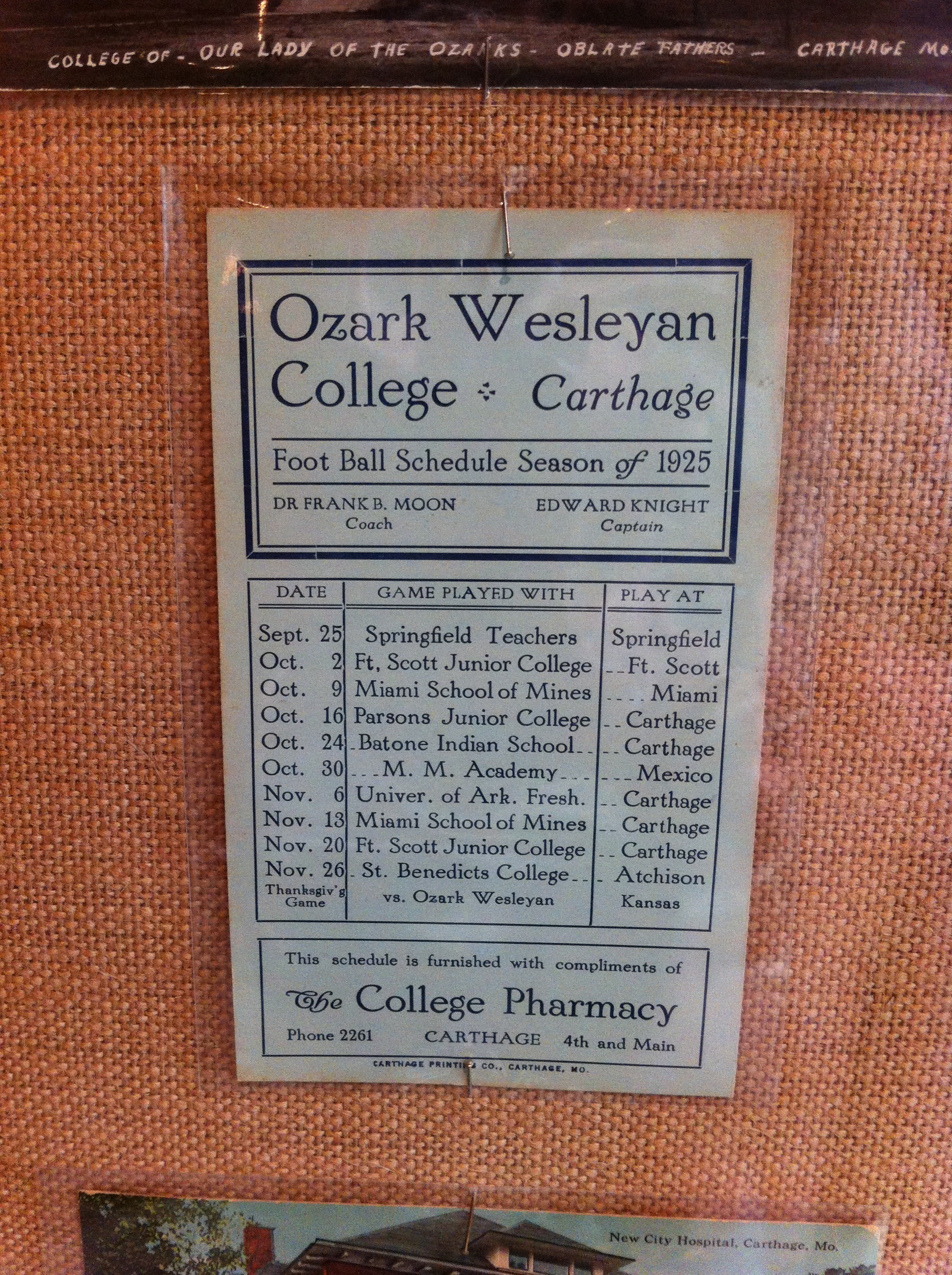 1925 Football Schedule for Ozark Wesleyan College on display during 2017's 175th Anniversary of Carthage exhibit at the Powers Museum.