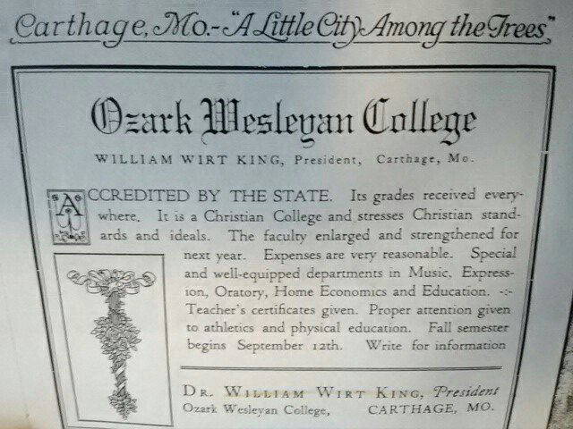 "Advertisement for OWC found in c 1927 promotional booklet ""Carthage Missouri The Open Gateway to the Ozarks"" published by the Carthage Chamber of Commerce."