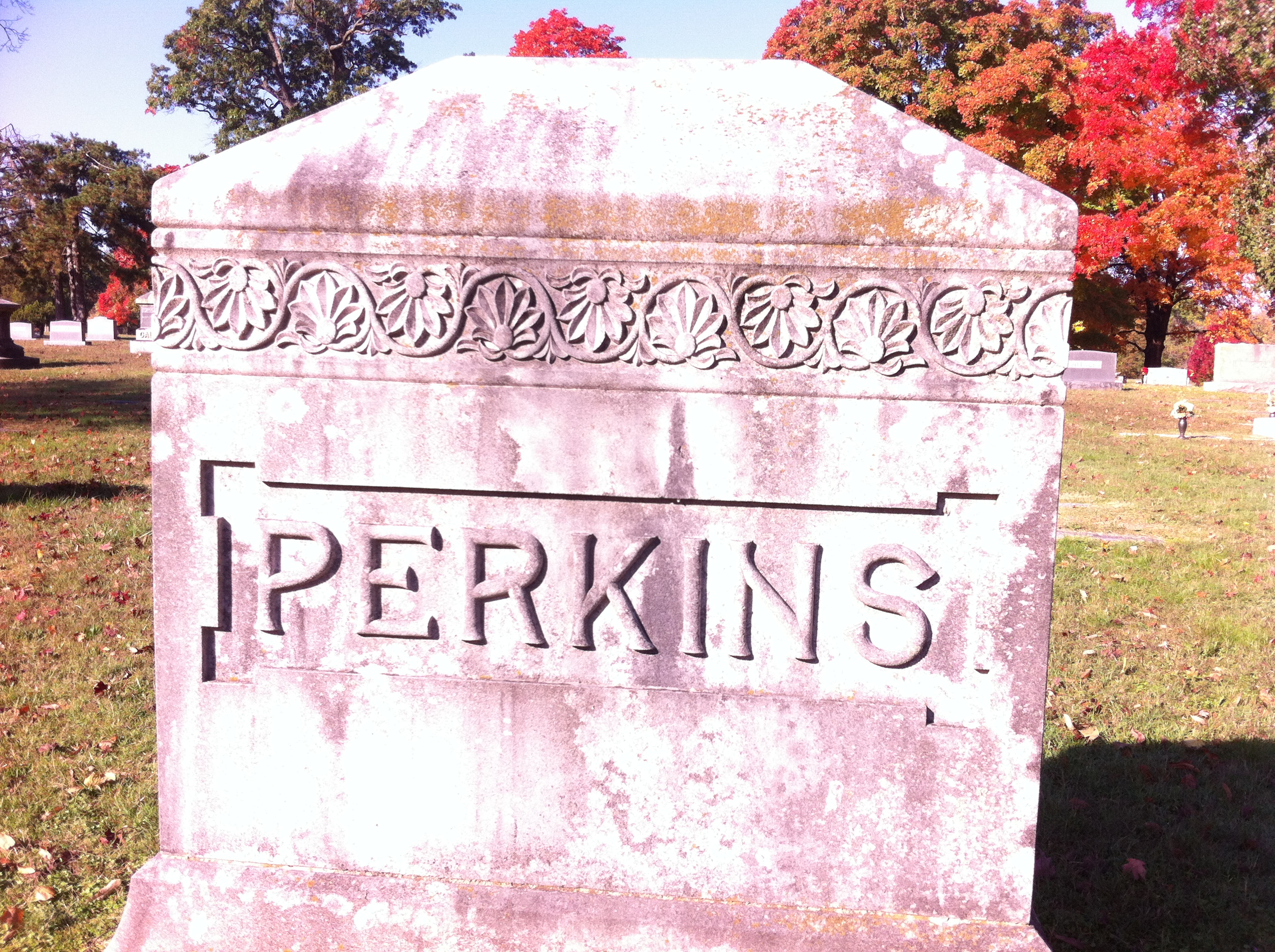 Perkins family marker in Park Cemetery. Joseph Perkins was a long-time county judge in the late 19th and early 20th centuries. He is the father of zoologist and television personality R. Marlin Perkins.
