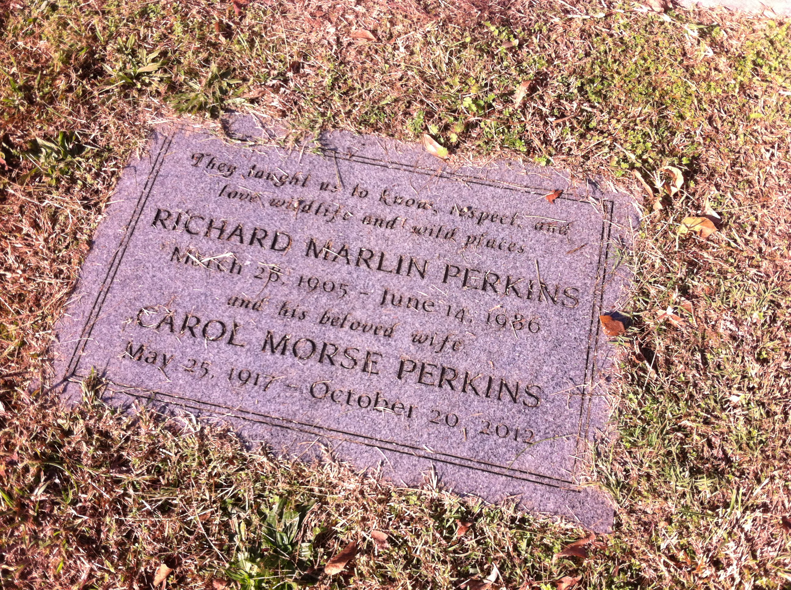 Grave marker for R. Marlin and Carol Perkins in Park Cemetery near the Perkins family stone.
