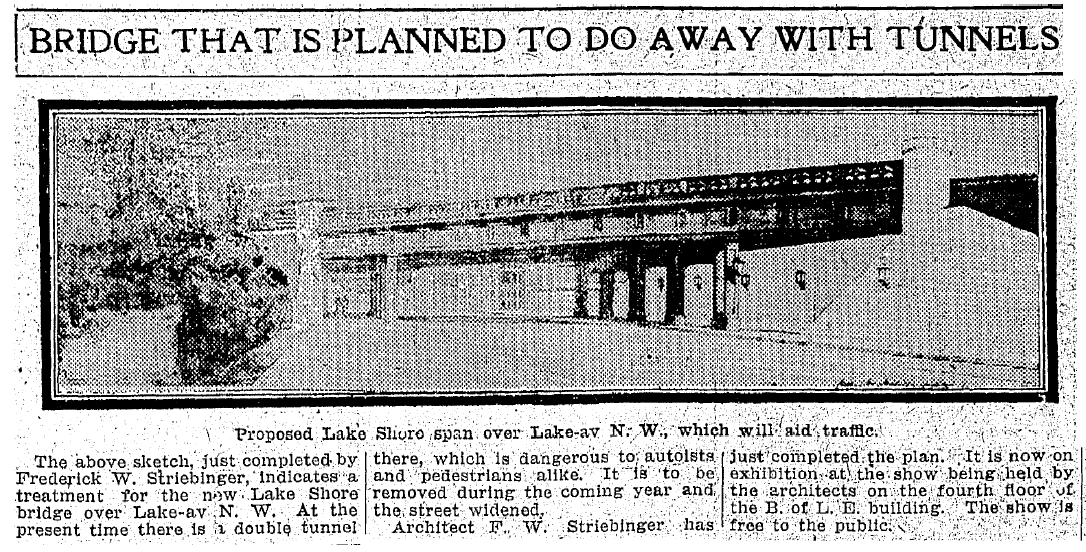 Article from the PLAIN DEALER on Dec. 23 1910 describing Striebinger's plans for a safer, more architecturally interesting railroad bridge over Lake Avenue. The bridge would also act as entrance to Edgewater Park.