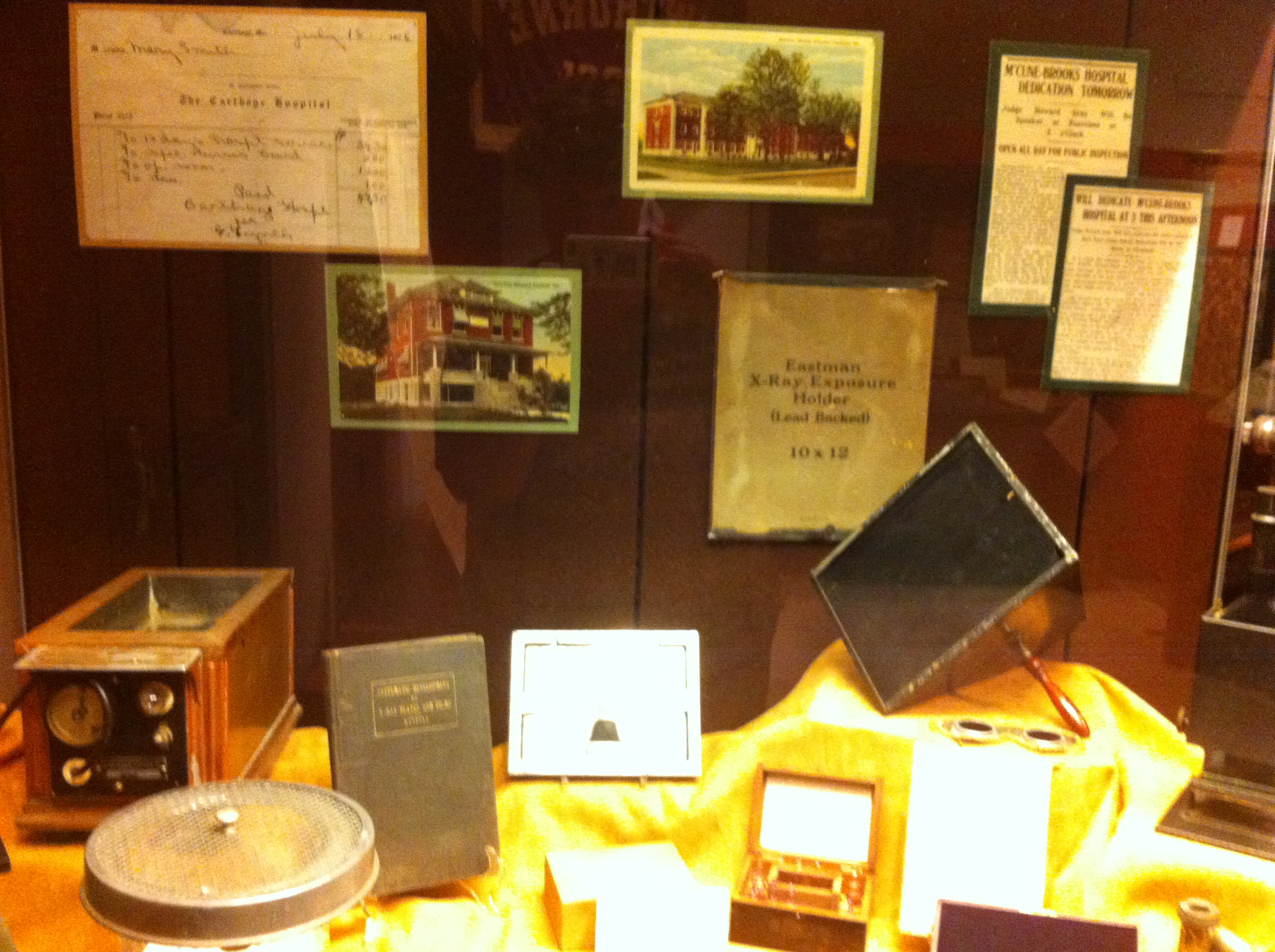 2017 Exhibit case featuring items used at the former Carthage Hospital and McCune-Brooks Hospital.