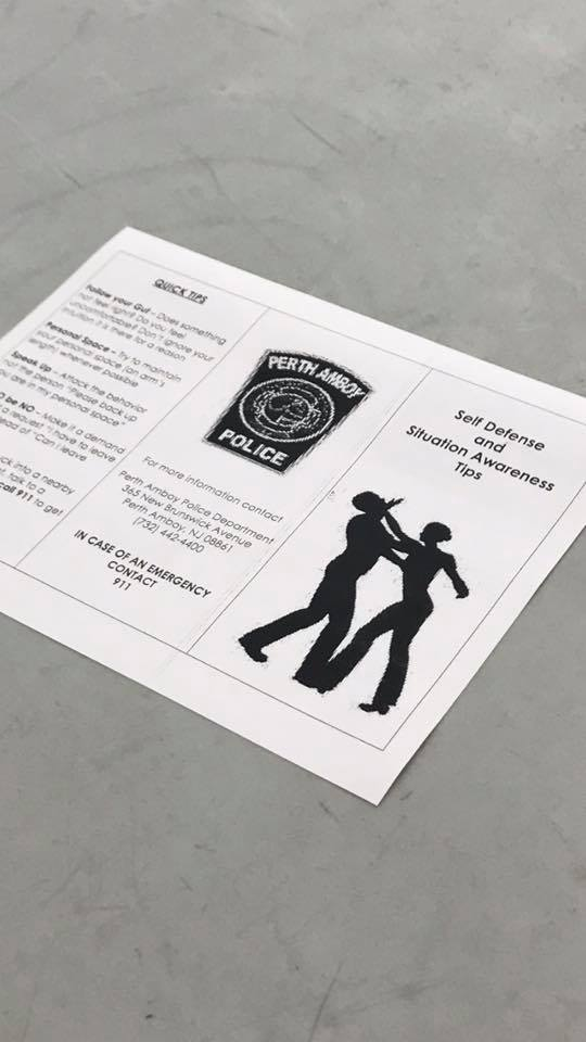 Self Defense Workshop flyer. The workshop was taught by the Perth Amboy Police Department and was open to all residents.