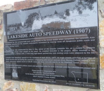 Lakeside Auto Speedway Marker