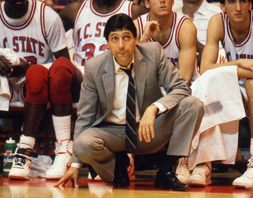 Jimmy Valvano coaching the Wolfpack players from the sidelines