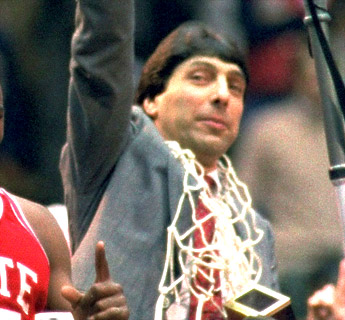 Jimmy Valvano with the net around his neck after winning the NCAA Championship in 1983