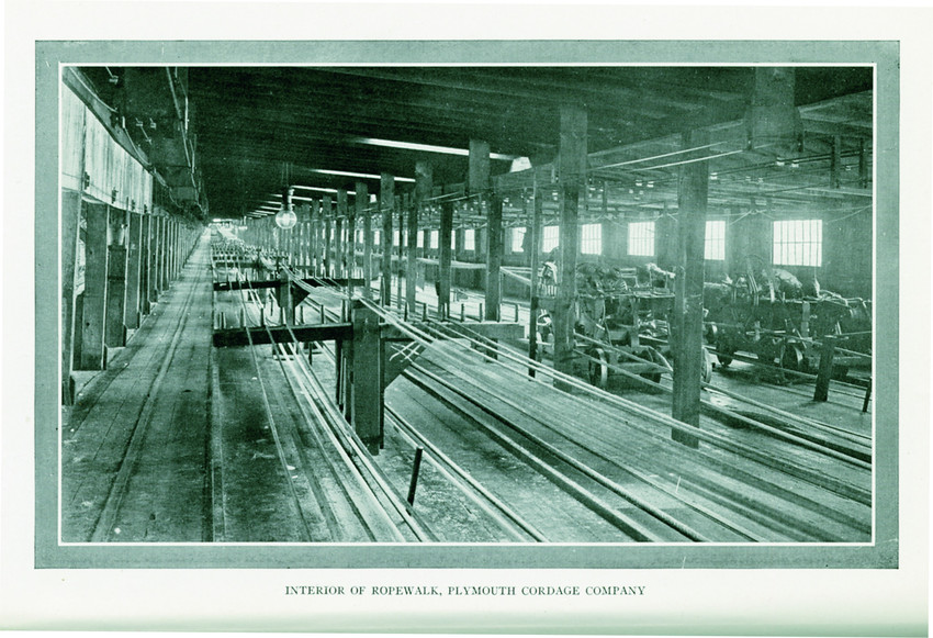 Interior of the Ropewalk at the Plymouth Cordage Company (Courtesy of Historic New England)