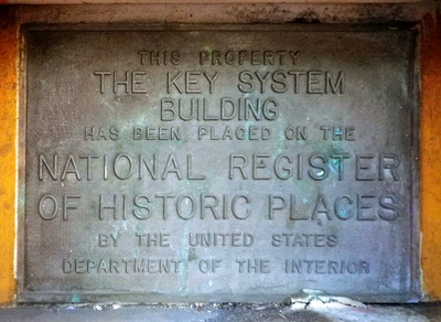 A plaque located on the building.