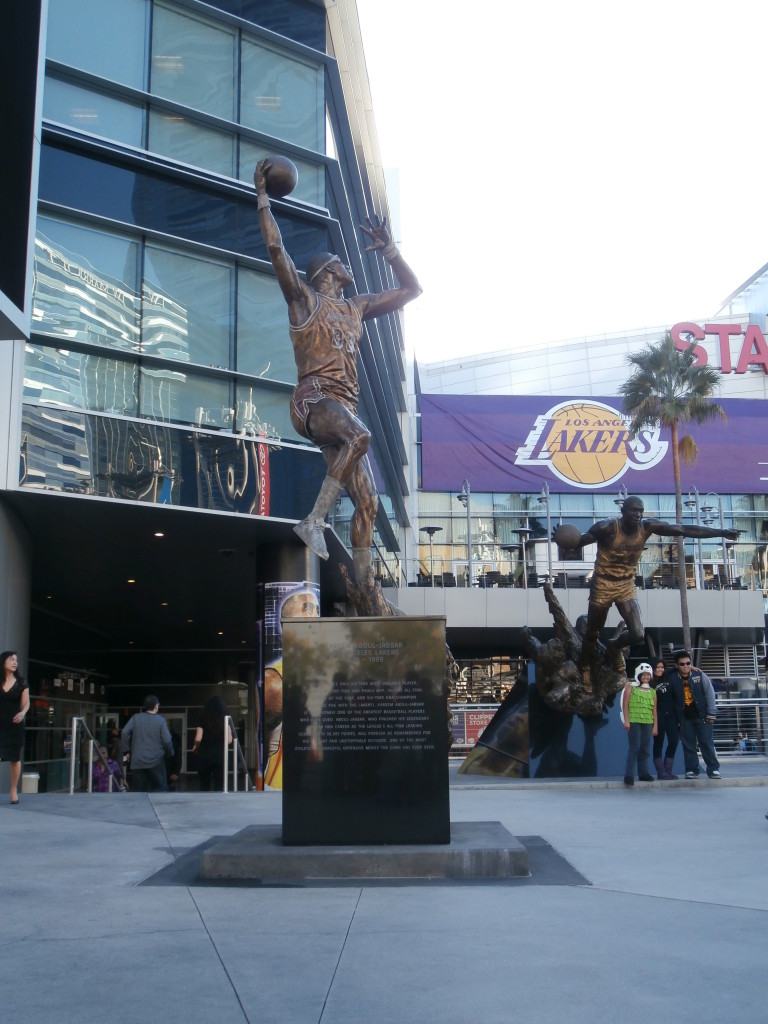 This statue of Kareem Abdul-Jabbar can be found near the main entrance of the Staples Center alongside other Lakers greats.