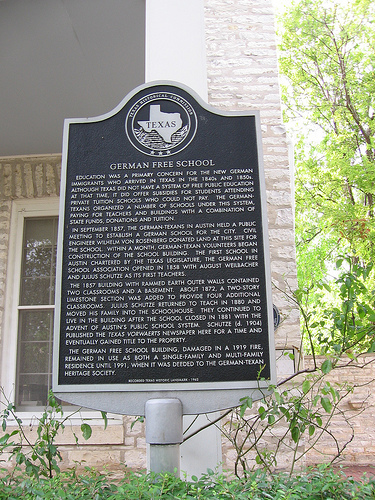 The German Free School that houses the Society is a designated state and city historical site. Image obtained from the Texas State Historical Association website.