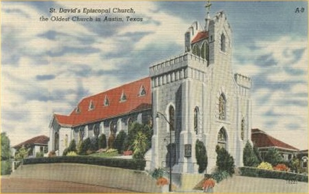 This 1940s-era postcard claims St. David's as the oldest church in Austin, Texas. Image obtained from uncoveredtexas.com.