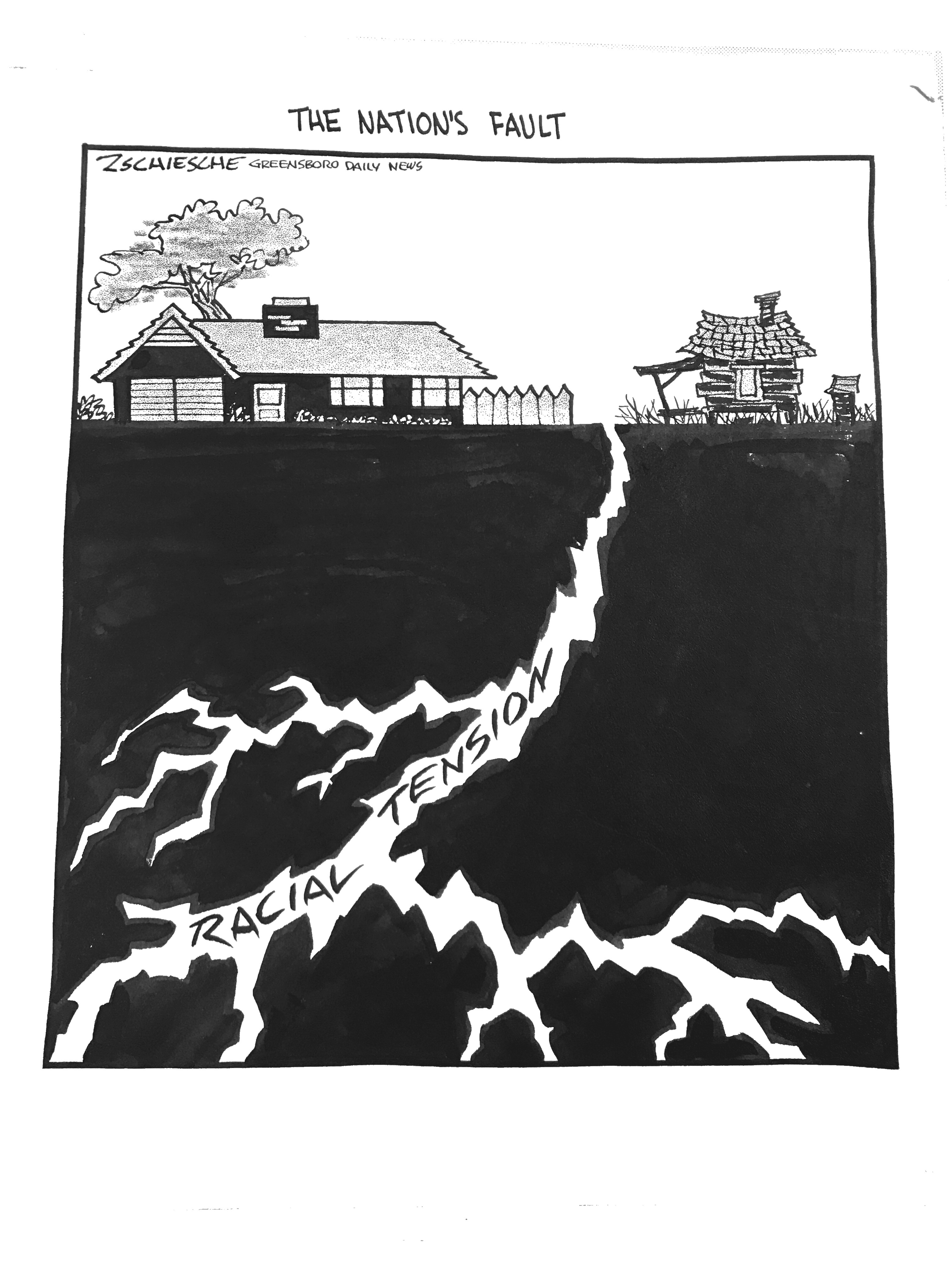 A cartoon hung in the Campus Y about UNC Chapel Hill's social movements and race relations. Done by Bob Zschiesche from the Greensboro Daily News. (1)