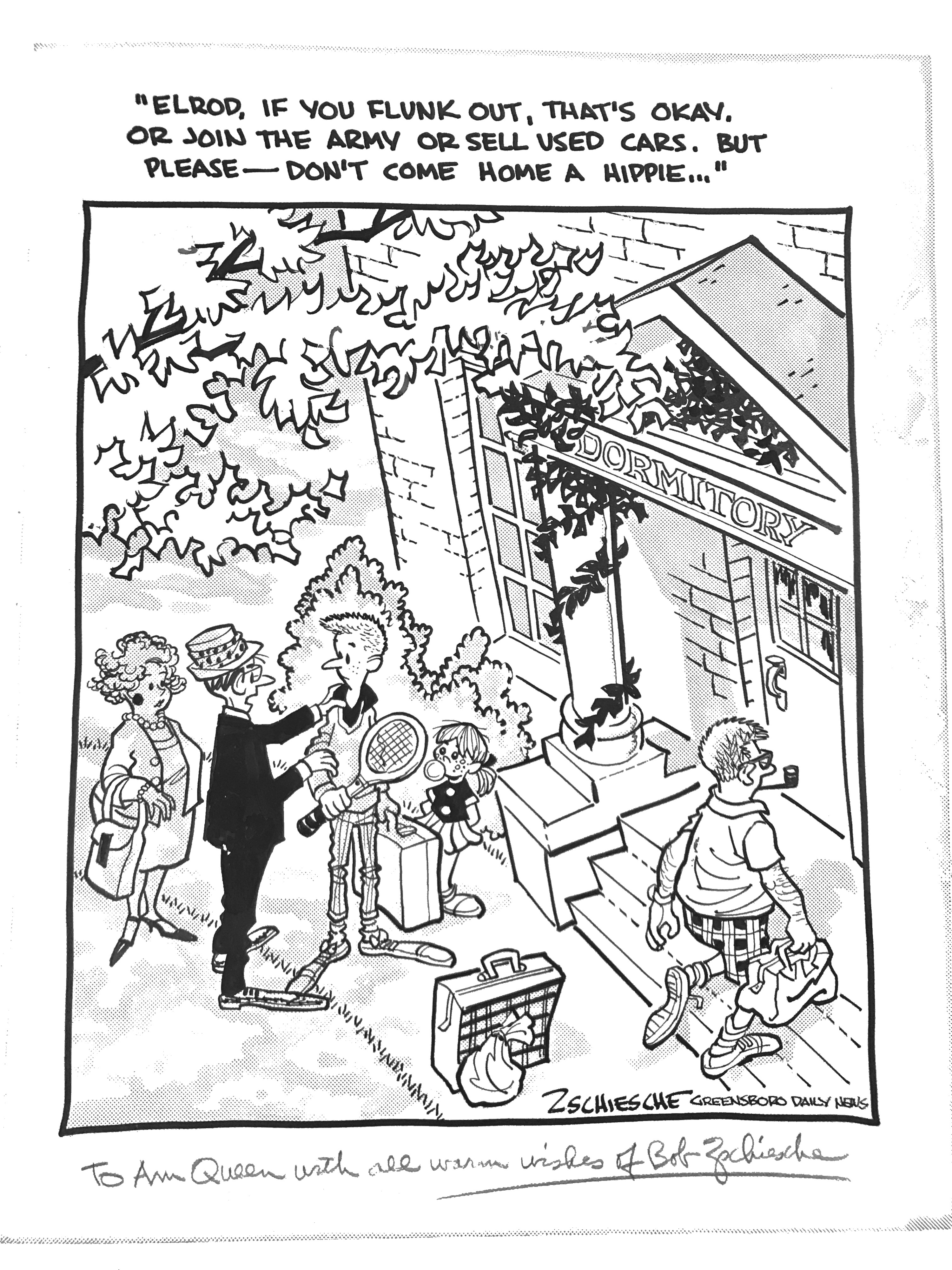 A cartoon hung in the Campus Y mocking the perception of UNC Chapel Hill and its social justice driven student body. Done by Bob Zschiesche from the Greensboro Daily News.