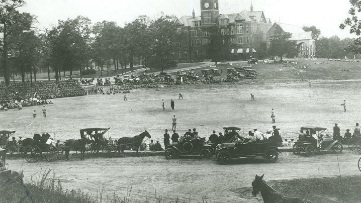 Baseball game on Bowman field circa 1920