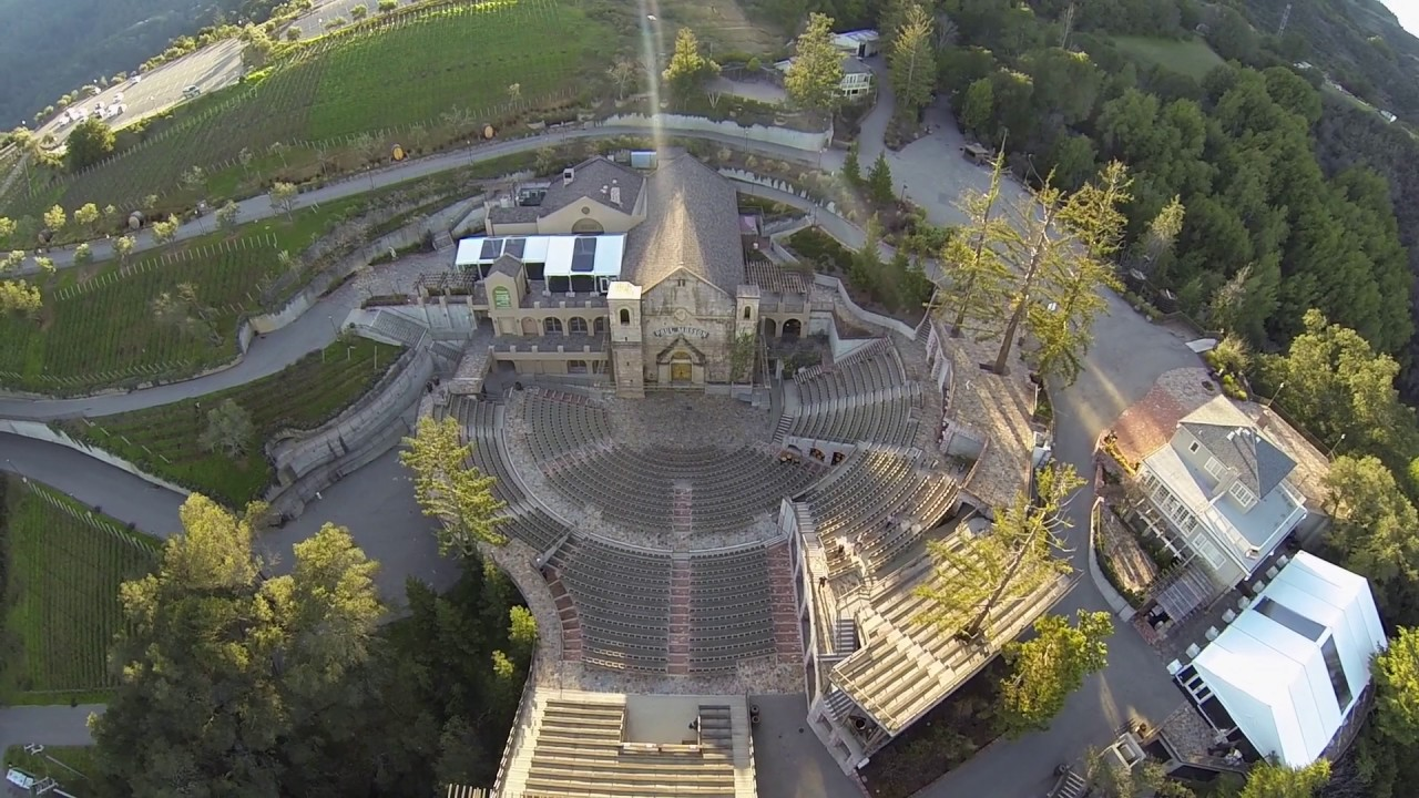 An overhead shot of the concert venue, to include the rebuilt winery building.