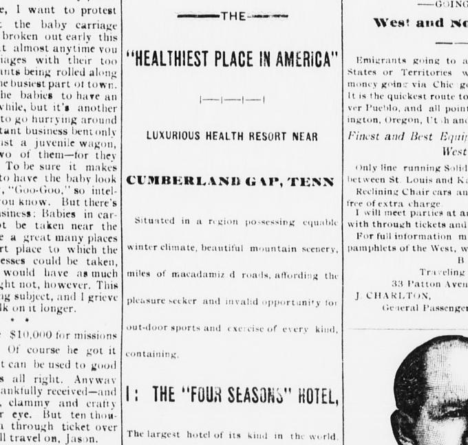 1/2 of an ad in the Asheville Daily Citizen for the Four Seasons Hotel. Alexander Arthur was friend with the Vanderbilts, and admired the Biltmore Estate located there.