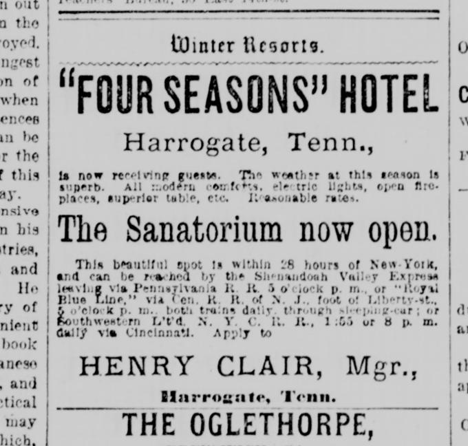 The New York Tribune advertised to New Yorkers that the Four Seasons Hotel was an ideal winter getaway at only 28 hours away.