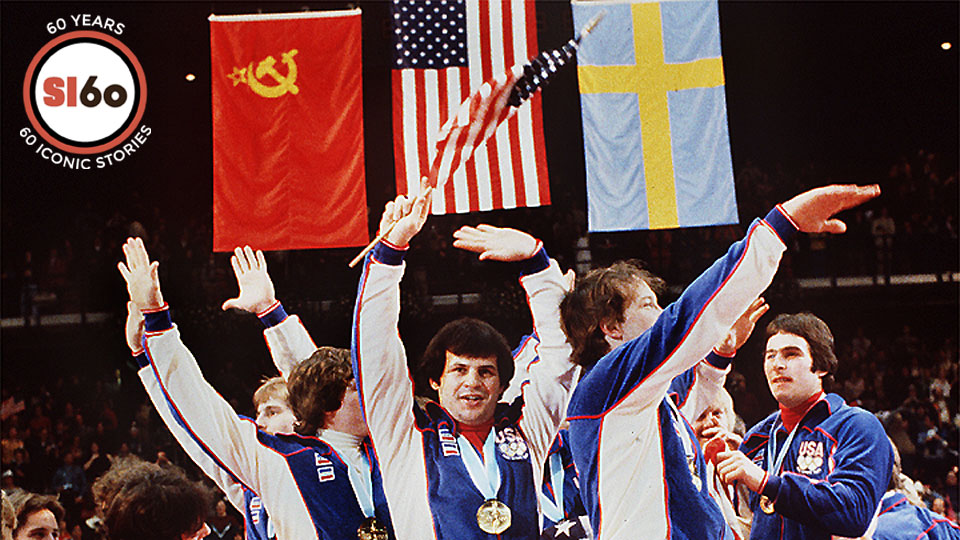 1980 US hockey team celebrating with their gold medals