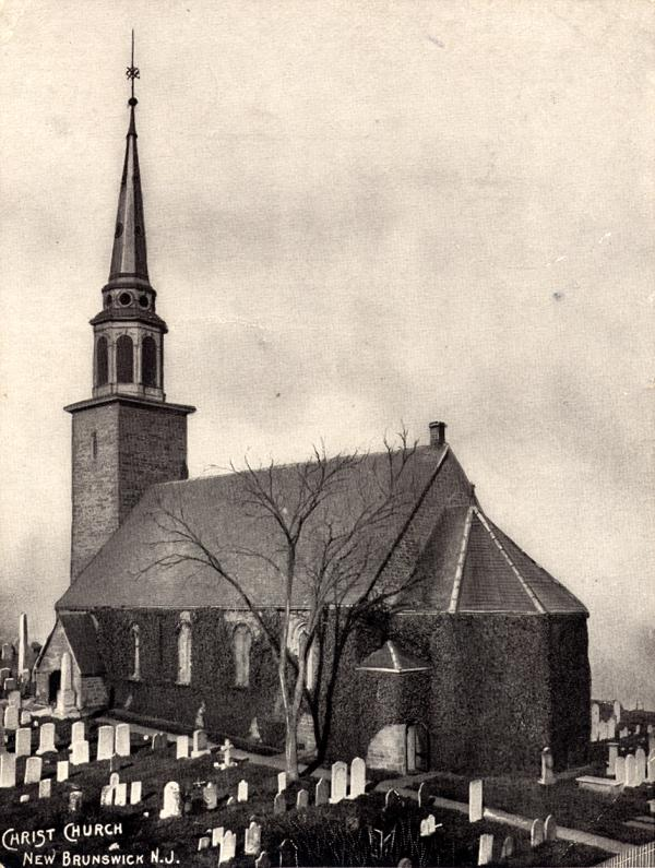 Historic image of the second Christ Church building (image from Christ Church New Brunswick)