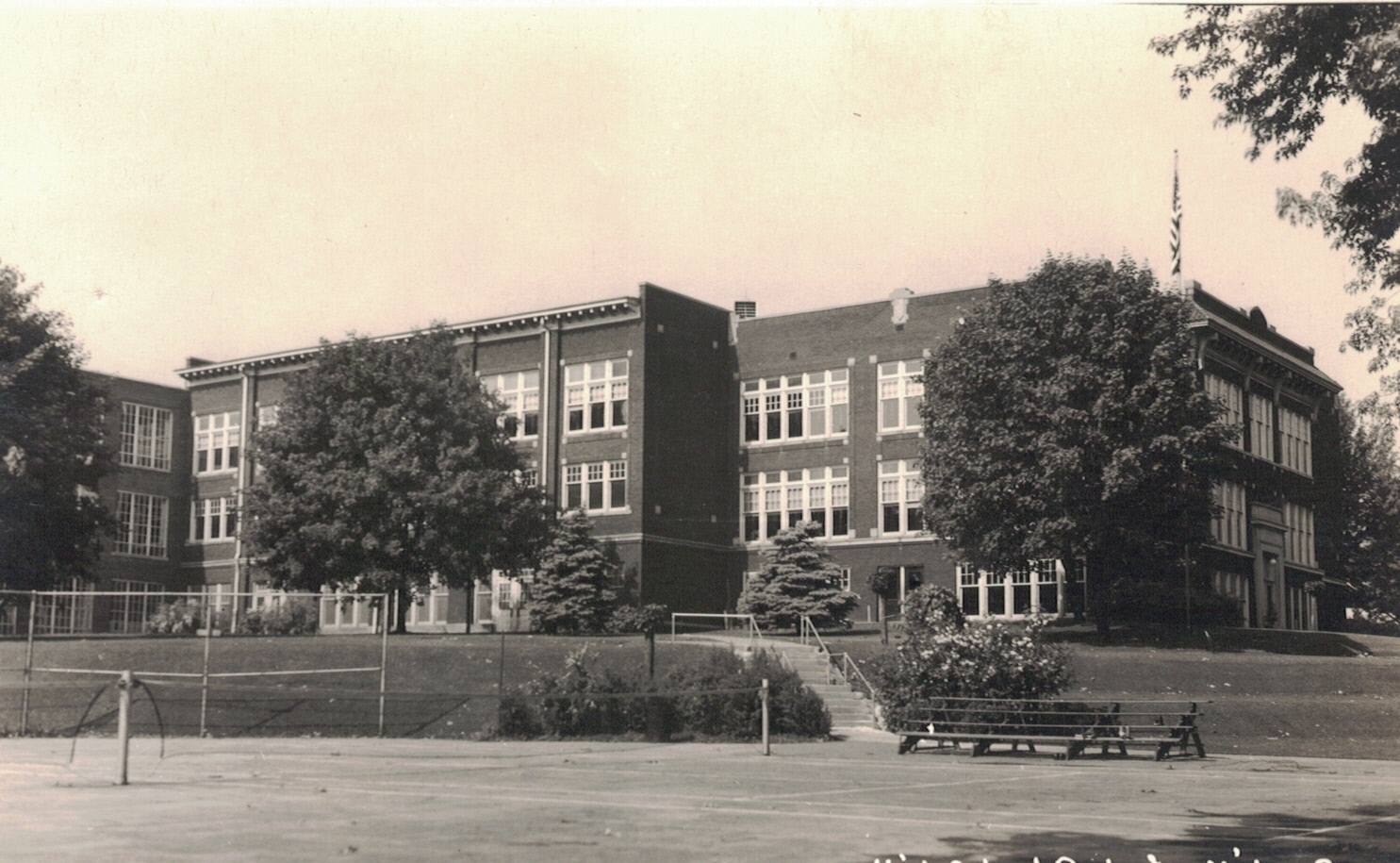 Rochester High School 1916/1920 building, east and north elevations, 1945