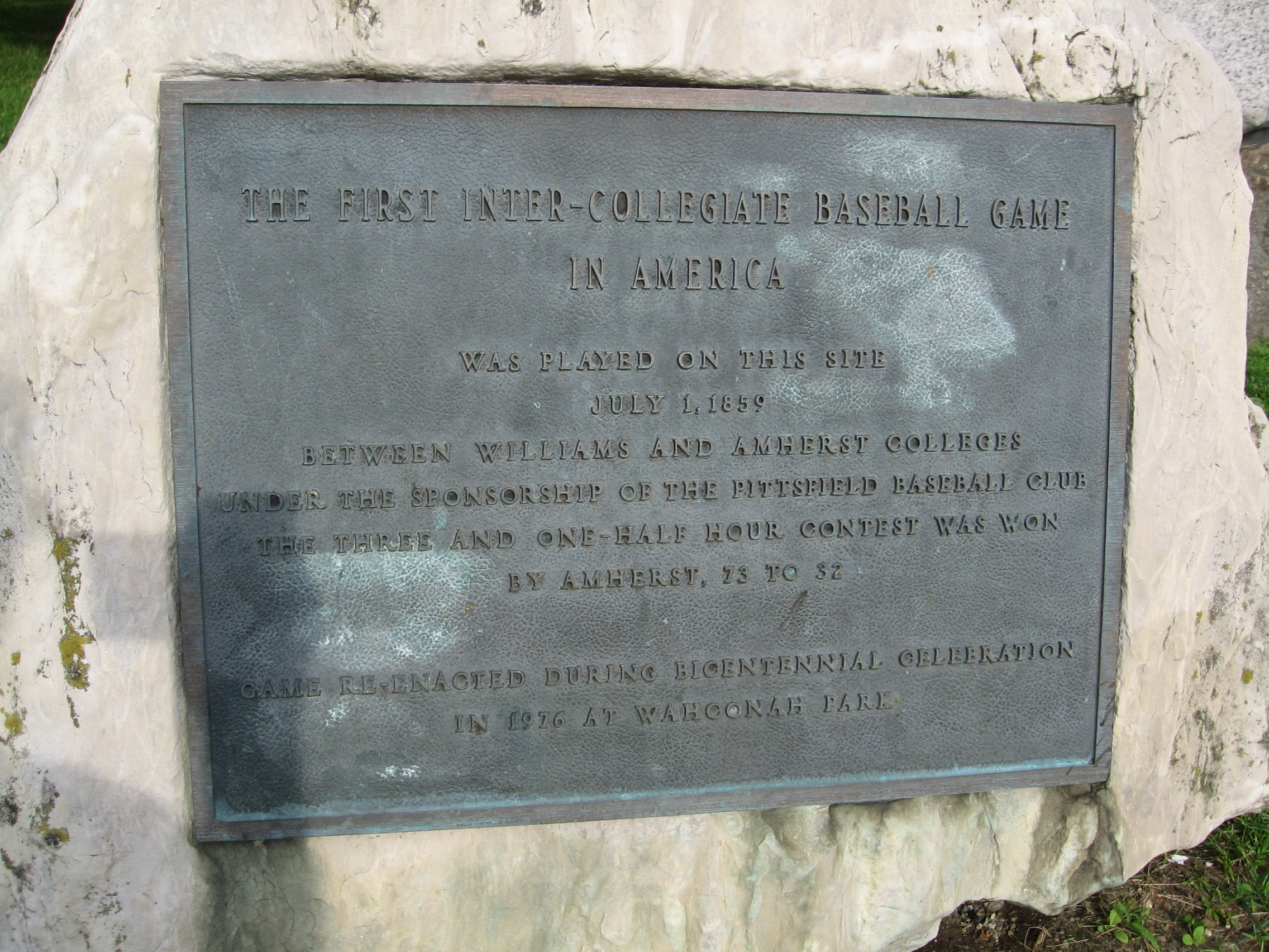 Picture of the plaque denoting the location of the game