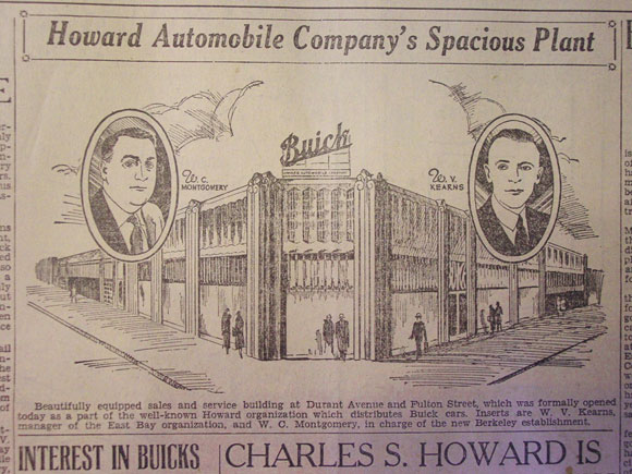 A newspaper advertising Howard Automobile Company.