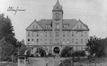 A black and white shot of the Altenheim.