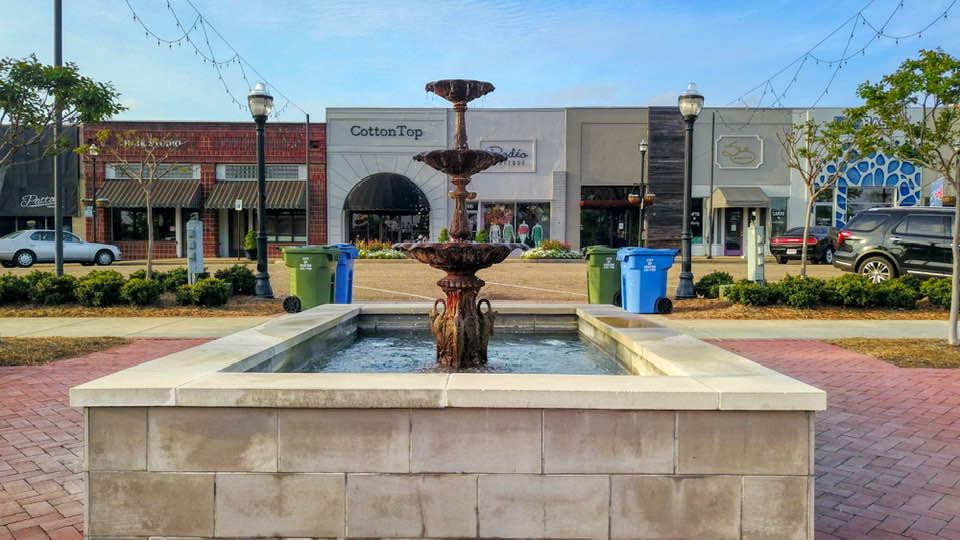 Historic fountain in Railroad Park