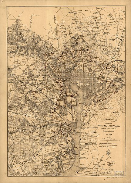 Circa 1860s Map of Washington Locations of the Fort Circle Defenses