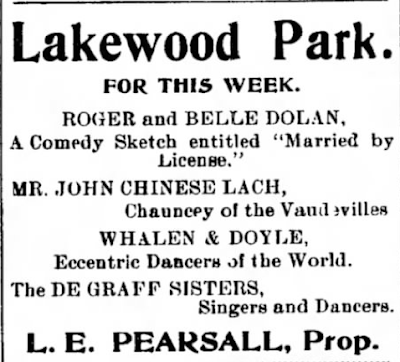 Vaudeville Dancers at Lakewood Park. Naugatuck Daily News, advertisement 12 July 1899.""