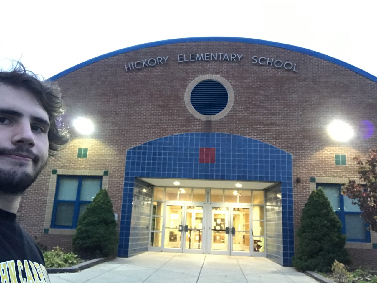 Current Picture of Hickory Elementary with our group member Adam