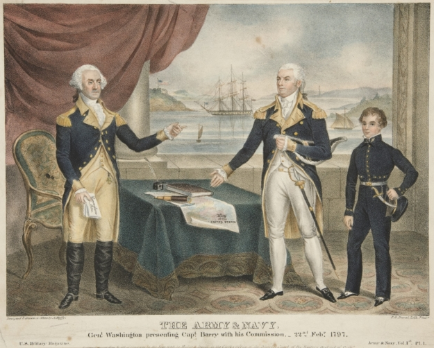 1830 painting depicting Washington giving Barry his commission as Commodore