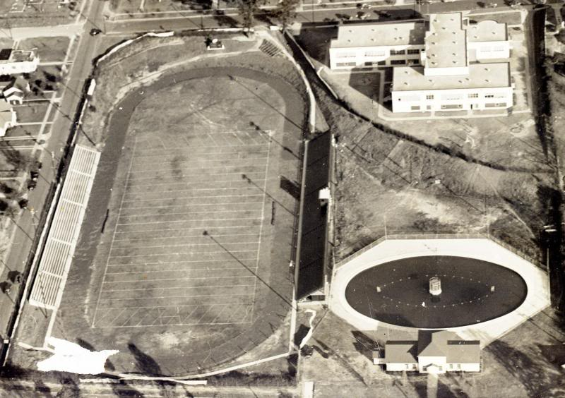 An aerial photo Robins Field circa 1950.