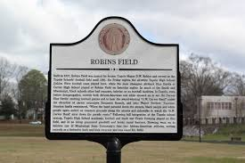 This historic marker commemorates the history of Robbins Field prior to the integration of the schools of Tupelo.