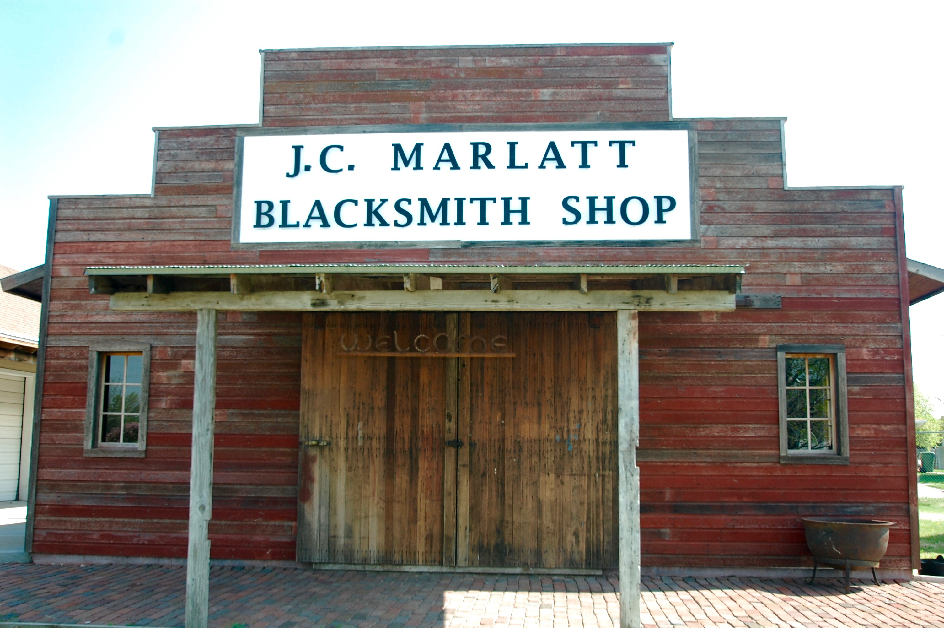 The front of the blacksmith shop.
