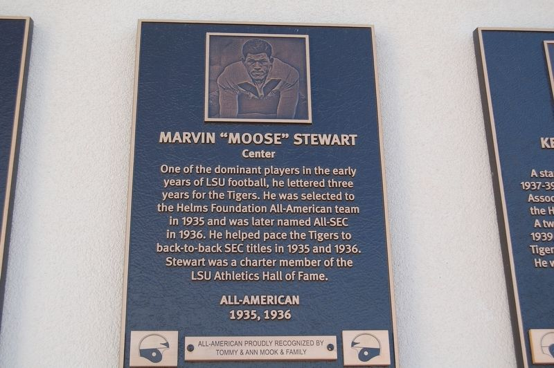 "Plaque for Marvin ""Moose"" Stewart."