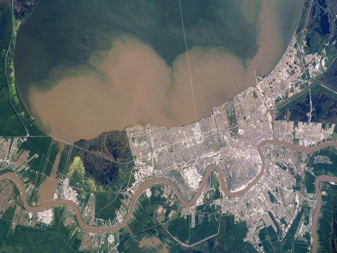 Sediment plume traveling from Mississippi River to Lake Pontchartrain through the Bonnet Carre Spillway