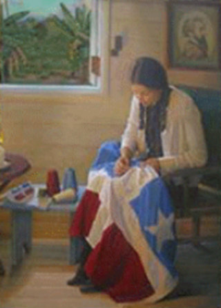 Lola Rodríguez de Tió sewing the Lares flag.