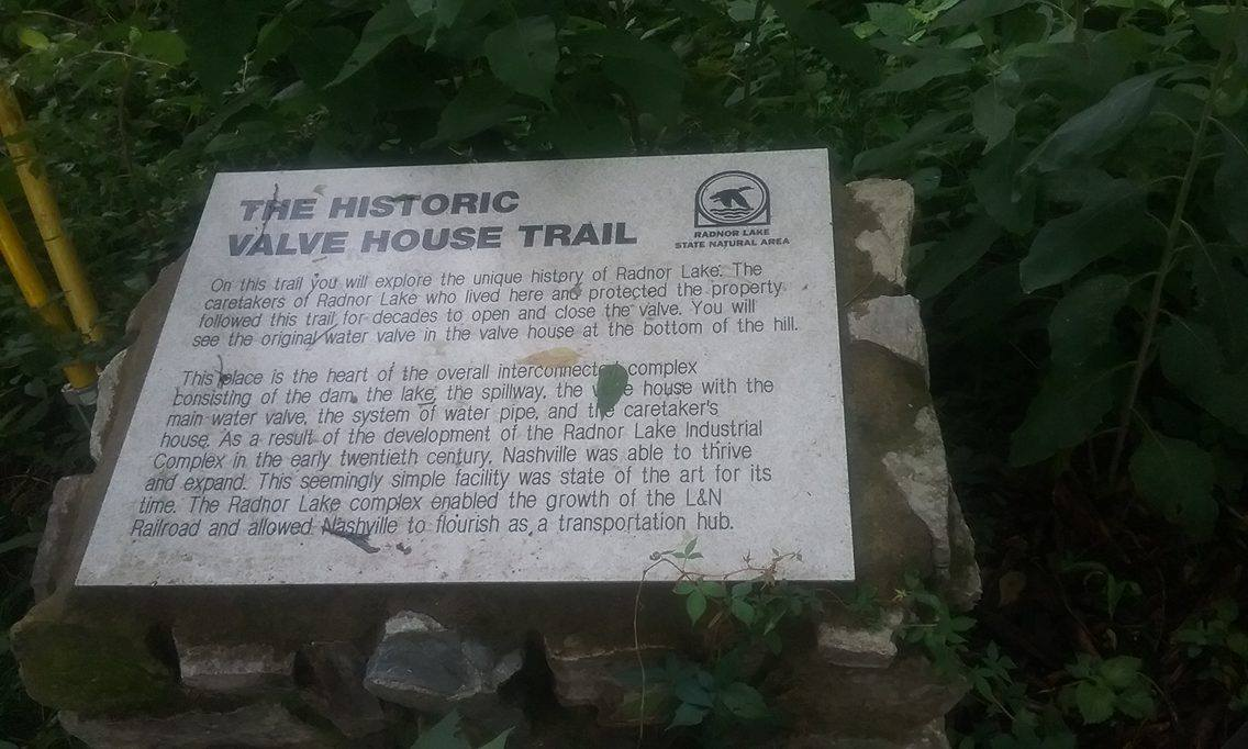 "Panel introducing the Historic Valve House Trail: ""The Radnor Lake complex enabled the growth of the L&N Railroad and allowed Nashville to flourish as a transportation hub."""