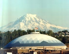 Tacoma Dome with Mt. Rainier in background
