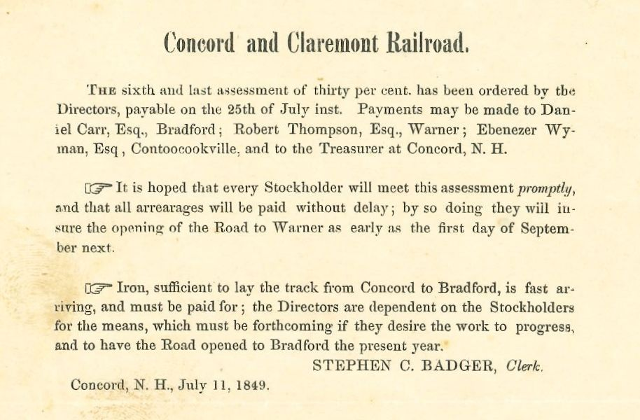 Image of 1849 assessment on Concord and Claremont Railroad investors requesting payment of 30% assessment.