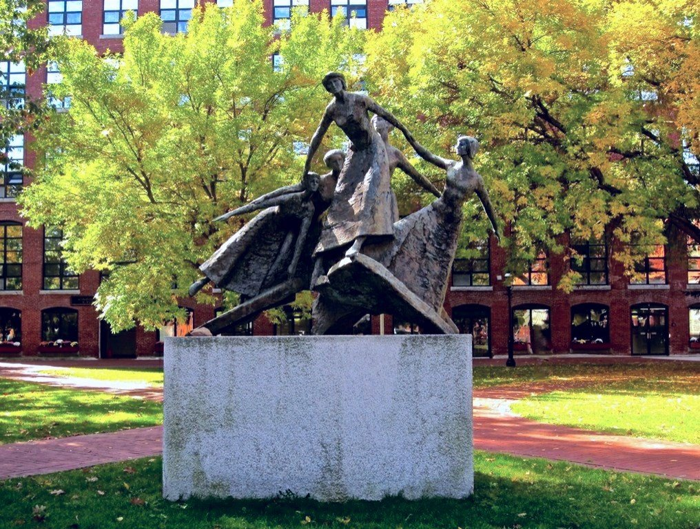 "This statue honoring the solidarity and dignity of the Lowell ""mill girls"" was dedicated in 1984."