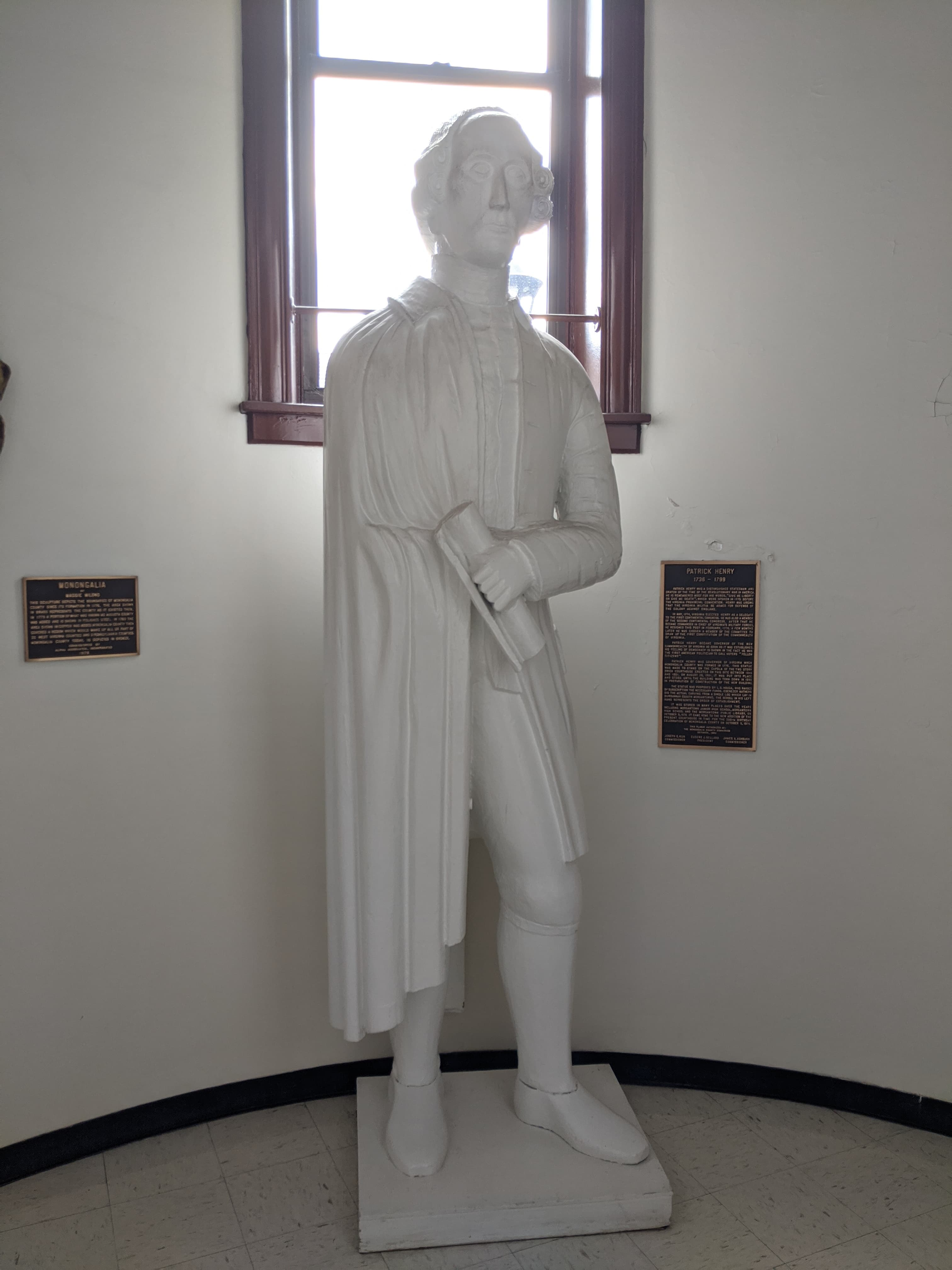 The statue of Patrick Henry in its present location