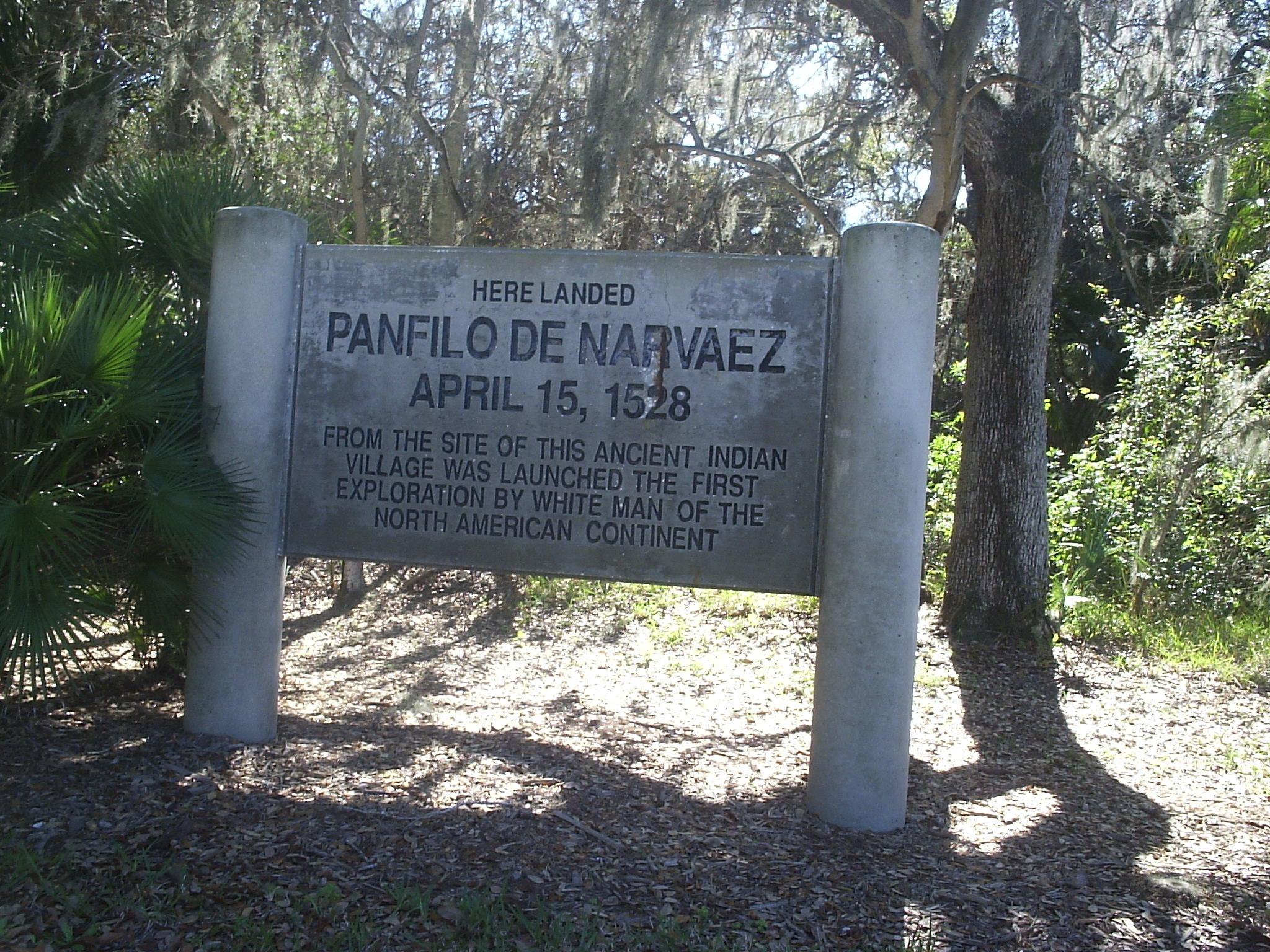 Marker indicating where Narvaez landed