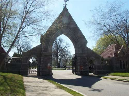 Archway over the entrance to Oak Grove Cemetery (Courtesy of the City of Fall River)