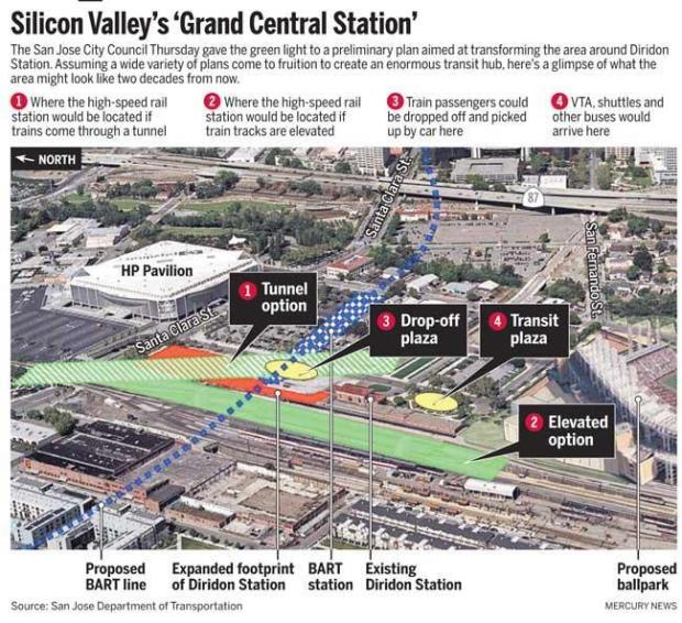 A map of what the area around Diridon Station could look like in the near future.