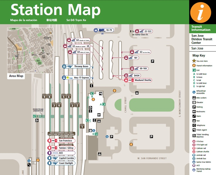 A map of Diridon Station to include rail lines and platforms.